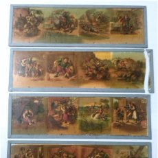 Antigüedades: LOTE DE 4 CRISTALES PARA LINTERNA MAGICA. Lote 64771163