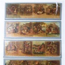 Antigüedades: LOTE DE 5 CRISTALES PARA LINTERNA MAGICA. Lote 64771203