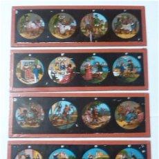 Antigüedades: LOTE DE 5 CRISTALES PARA LINTERNA MAGICA. Lote 64771363