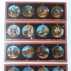 Antigüedades: LOTE DE 5 CRISTALES PARA LINTERNA MAGICA. Lote 64771459