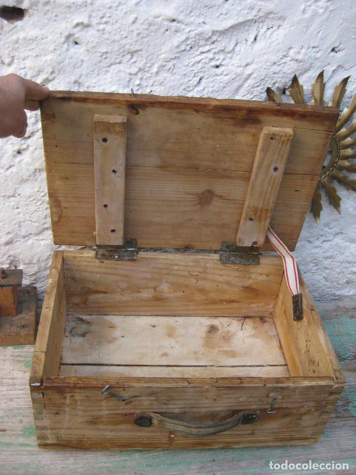 Antigüedades: CAJA DE MADERA MUY FUERTE MALETIN IDEAL HERRAMIENTAS USO DECORACION INDUSTRIAL - Foto 3 - 66114482