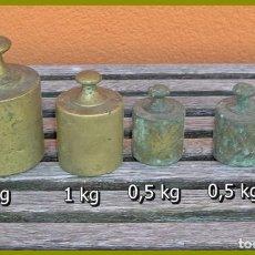 Antigüedades: JUEGOS DE 8 PESAS.....(1)2KG.....(1)1 KG.....(2)500GRS..... (2)200 GRS.....(2)100GRS....SON DE LATÓN. Lote 66497502