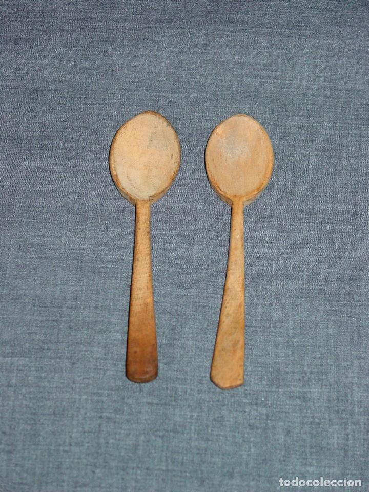 2 CUCHARILLAS DE MADERA LABORATORIO. FARMACIA. QUIMICA. PRINCIPIOS 1900 (Antigüedades - Técnicas - Herramientas Profesionales - Medicina)