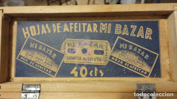 Antigüedades: ANTIGUA CAJA DE MADERA O EXPOSITOR.HOJAS DE AFEITAR MI BAZAR.AÑOS 40? - Foto 4 - 66959226
