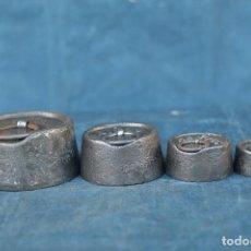 Antigüedades: PESAS DE 2 KG,1KG, 0.5 KG Y 0.25 KG CON SELLOS EN EL PLOMO. Lote 67181565