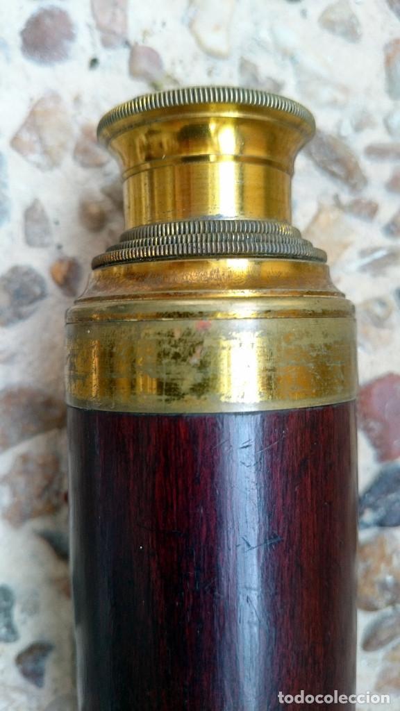 Antigüedades: catalejo marina bronce y madera, siglo XIX - Foto 3 - 67326601