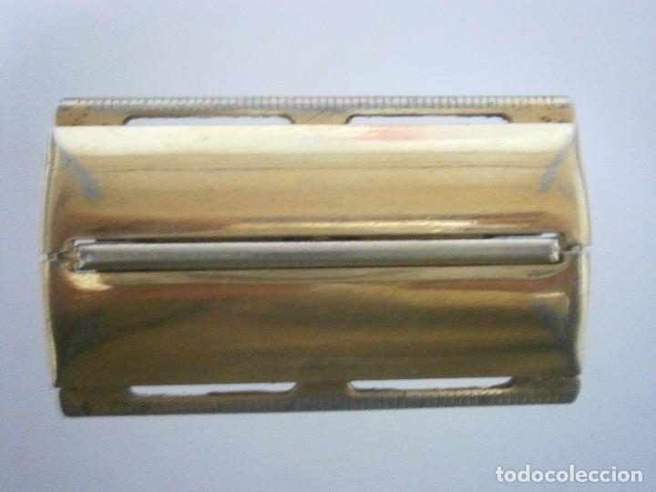 Antigüedades: Maquinilla de afeitar Gillette Executive Fatboy Gold D3 de 1958 - Foto 3 - 139378228