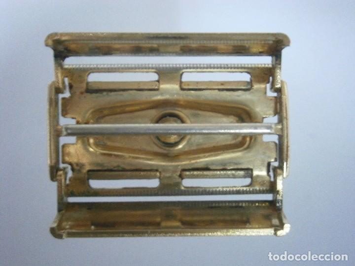 Antigüedades: Maquinilla de afeitar Gillette Executive Fatboy Gold D3 de 1958 - Foto 4 - 139378228
