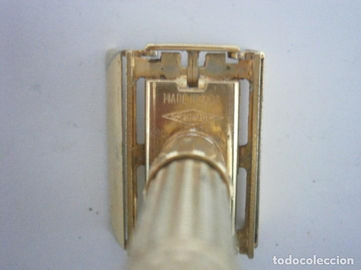 Antigüedades: Maquinilla de afeitar Gillette Executive Fatboy Gold D3 de 1958 - Foto 5 - 139378228