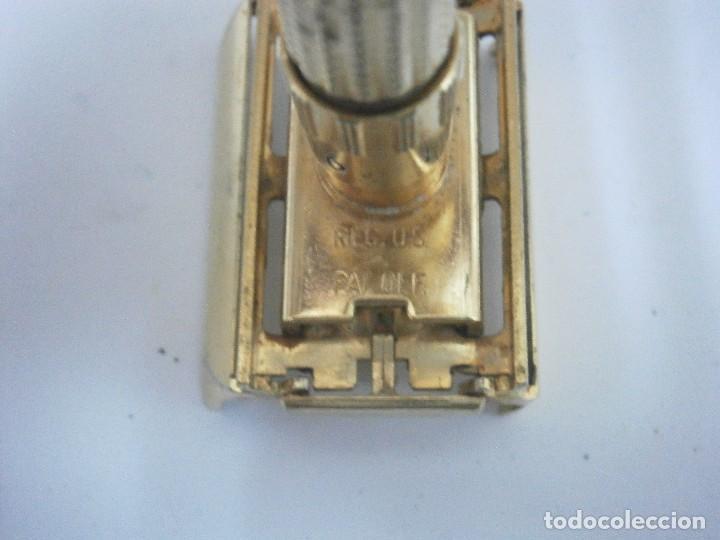 Antigüedades: Maquinilla de afeitar Gillette Executive Fatboy Gold D3 de 1958 - Foto 7 - 139378228