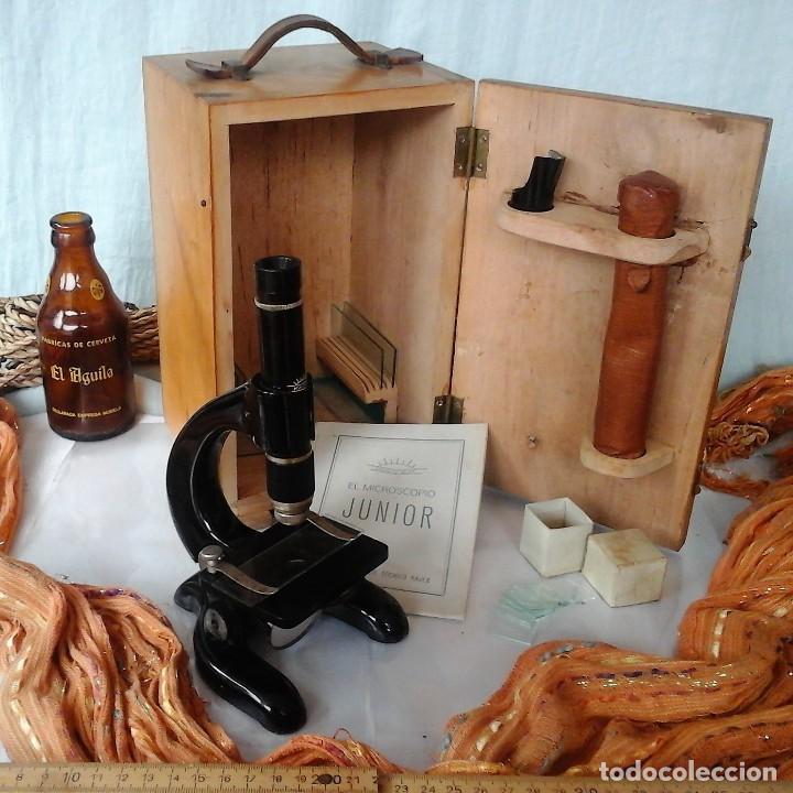 MICROSCOPIO JUNIOR ANTIGUO AÑOS 70. CAJA ORIGINAL. OLD MICROSCOPE ORIGINAL BOX: (Antigüedades - Técnicas - Instrumentos Ópticos - Microscopios Antiguos)