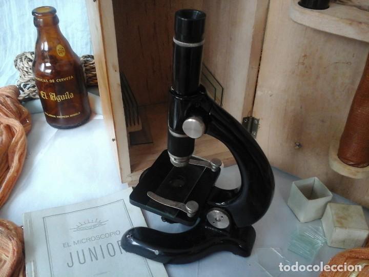 Antigüedades: MICROSCOPIO JUNIOR ANTIGUO AÑOS 70. CAJA ORIGINAL. OLD MICROSCOPE ORIGINAL BOX: - Foto 7 - 120876234