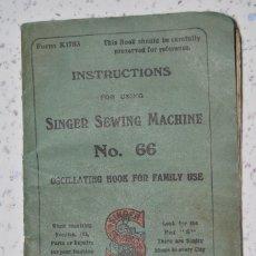 Antigüedades: INSTRUCCIONES ORIGINALES ¨SINGER¨, MOD 66, 1918, INGLÉS, ORIGINAL, COMPLETO.. Lote 68138209