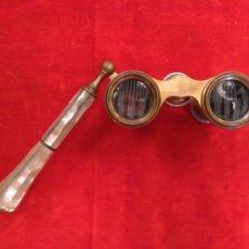 Antigüedades: PRISMÁTICOS - BINOCULARES (O IMPERTINENTES) DE NÁCAR Y METAL DORADO DEL SIGLO XIX. Lote 68201702