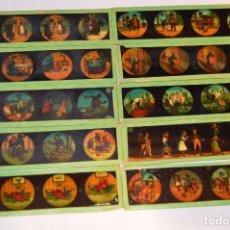 Lote de 10 CRISTALES PARA LINTERNA MÁGICA - 15 X 04 Cm. - Muy antiguo - Mira fotografías y detalles