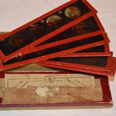 Antigüedades: LOTE CAJA CON 09 CRISTALES PARA LINTERNA MÁGICA - 15 X 04 CM. - MUY ANTIGUO - MIRA FOTOGRAFÍAS. Lote 68331521