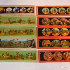 Antigüedades: LOTE DE 10 CRISTALES PARA LINTERNA MÁGICA - 15 X 04 CM. - MUY ANTIGUO - MIRA FOTOGRAFÍAS. Lote 68332689