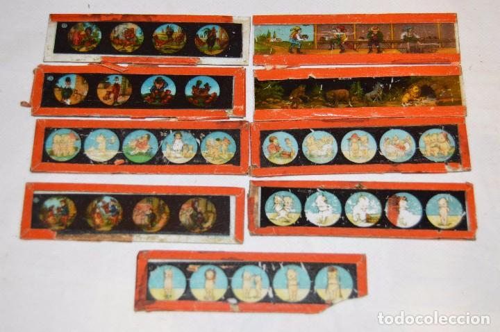 LOTE DE 09 CRISTALES PARA LINTERNA MÁGICA - 11 X 03 CM. - MUY ANTIGUO - MIRA FOTOGRAFÍAS (Antigüedades - Técnicas - Aparatos de Cine Antiguo - Linternas Mágicas Antiguas)