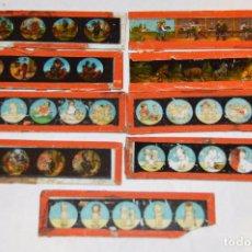 Antigüedades: LOTE DE 09 CRISTALES PARA LINTERNA MÁGICA - 11 X 03 CM. - MUY ANTIGUO - MIRA FOTOGRAFÍAS. Lote 68333097