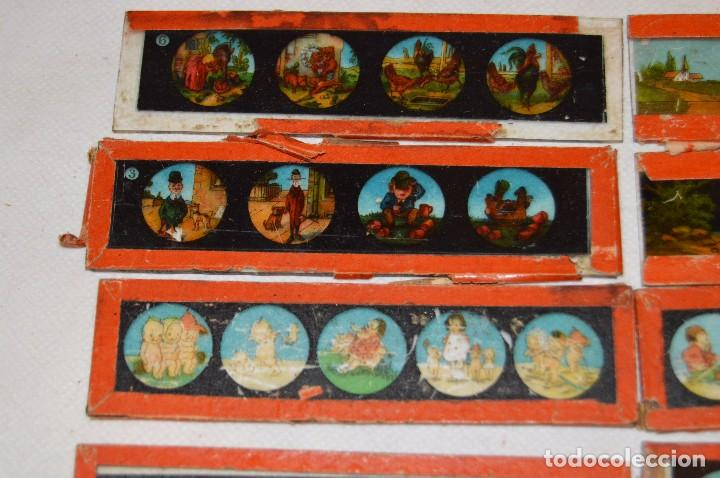 Antigüedades: Lote de 09 CRISTALES para LINTERNA MÁGICA - 11 X 03 Cm. - Muy antiguo - Mira fotografías - Foto 2 - 68333097