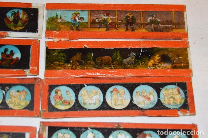 Antigüedades: Lote de 09 CRISTALES para LINTERNA MÁGICA - 11 X 03 Cm. - Muy antiguo - Mira fotografías - Foto 3 - 68333097