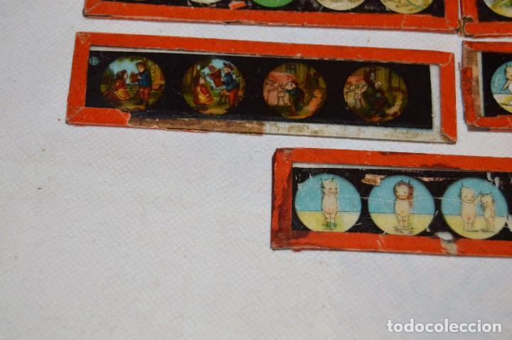 Antigüedades: Lote de 09 CRISTALES para LINTERNA MÁGICA - 11 X 03 Cm. - Muy antiguo - Mira fotografías - Foto 4 - 68333097