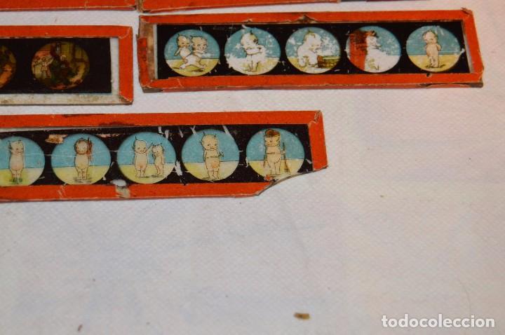 Antigüedades: Lote de 09 CRISTALES para LINTERNA MÁGICA - 11 X 03 Cm. - Muy antiguo - Mira fotografías - Foto 5 - 68333097