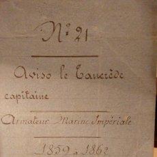 Antigüedades: DOCUMENTO ASTILLERO FRANCES 1859 AVISO LE TANCREDE. MARINE IMPERIALE. COMBATIO INCIDENTE SHIMONOSEKI. Lote 68422901