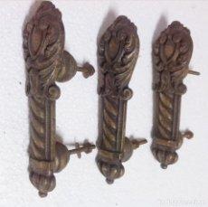 Antigüedades: 3 TIRADORES DE BRONCE. Lote 68586305