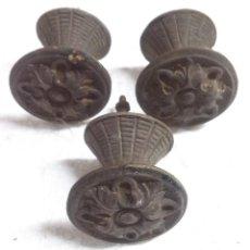 Antigüedades: 3 TIRADORES DE BRONCE. Lote 68586893