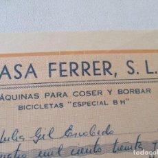 Antigüedades: CASA FERRER, ALICANTE: FACTURA DE MÁQUINA DE COSER ALFA-18 DE OCTUBRE DE 1967-MIDE 13.5X21.5 CM.. Lote 68623373