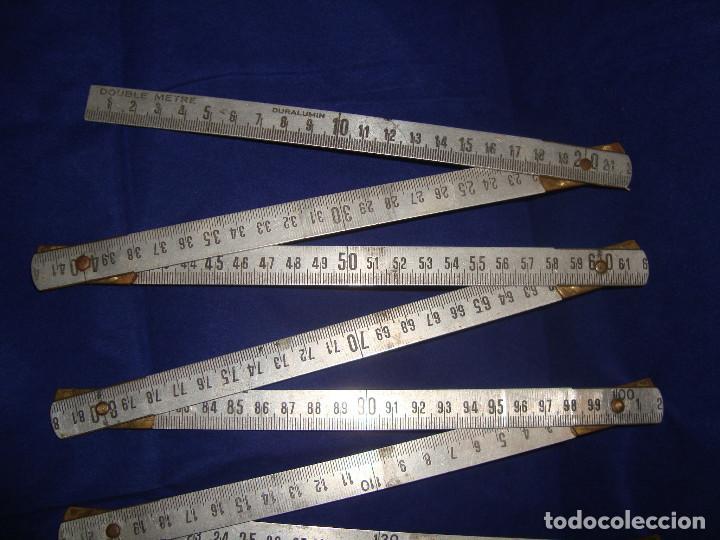 ANTIGUA REGLA PLEGABLE DOUBLE-METRE DURALUMIN, 2 METROS (Antigüedades - Técnicas - Aparatos de Cálculo - Reglas de Cálculo Antiguas)