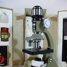 Antigüedades: ANTIGUO MICROSCOPIO PARA APRENDIZAJE 100X -600. Lote 69477177