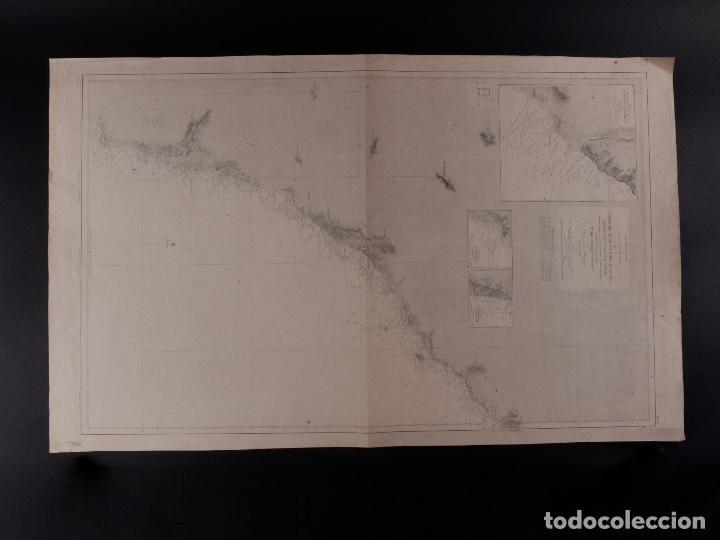 CARTA NÁUTICA DESDE LA TORRE DE LA MESA 1876 (Antigüedades - Antigüedades Técnicas - Marinas y Navales)