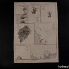 Antigüedades: CARTA NÁUTICA DE ISLAS GUINEA, ANNOBON,…1859. Lote 69600621