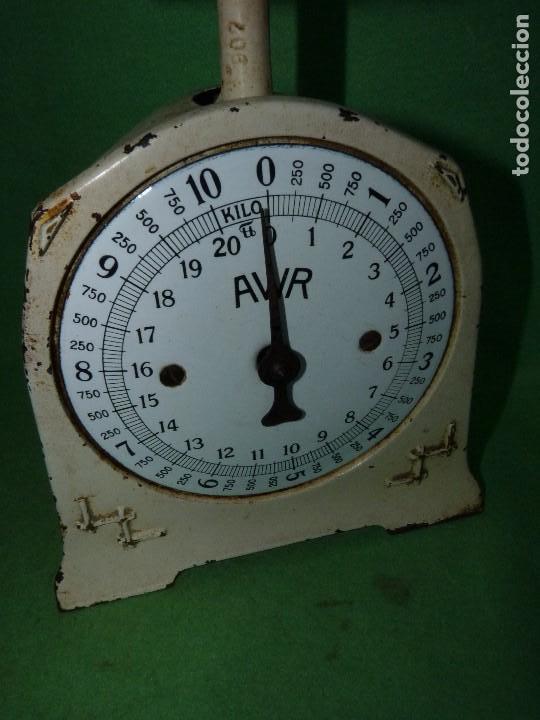 Antigüedades: Preciosa báscula AWR antigua balanza ALEMANA escala esmalte peso hierro colado Art Deco finales XIX - Foto 5 - 69952889