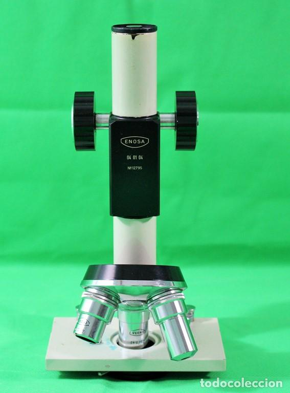 MICROSCOPIO ENOSA 04 01 04 Nº DE SERIE 12.975. LENTE DE OCULAR 5 AUMENTOS (Antigüedades - Técnicas - Instrumentos Ópticos - Microscopios Antiguos)