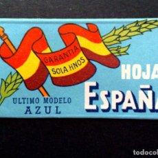Antigüedades: HOJA DE AFEITAR ANTIGUA-HOJAS ESPAÑA-ULTIMO MODELO AZUL-VINTAGE.. Lote 114723468