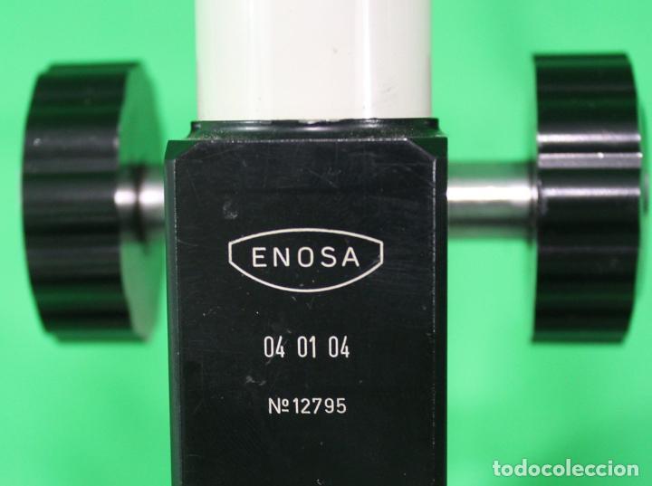 Antigüedades: Microscopio Enosa 04 01 04 nº de serie 12.975. Lente de ocular 5 aumentos - Foto 3 - 70440105