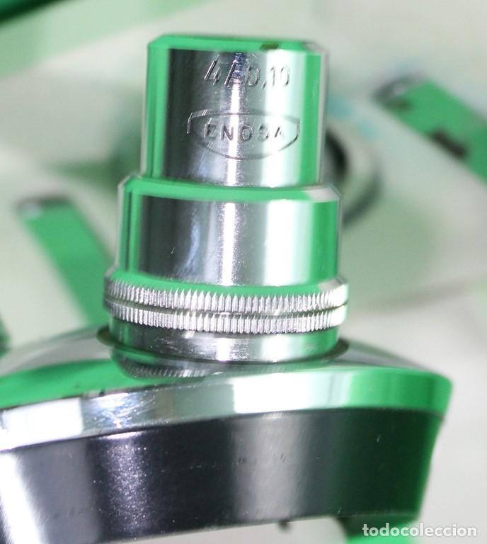 Antigüedades: Microscopio Enosa 04 01 04 nº de serie 12.975. Lente de ocular 5 aumentos - Foto 4 - 70440105