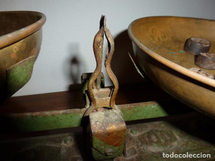 Antigüedades: BALANZA BASCULA CON PESOS VERDE - Foto 9 - 72206219