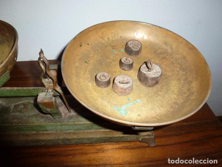 Antigüedades: BALANZA BASCULA CON PESOS VERDE - Foto 10 - 72206219