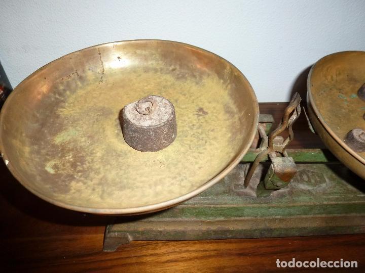 Antigüedades: BALANZA BASCULA CON PESOS VERDE - Foto 11 - 72206219