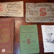 Antigüedades: LOTE SINGER INSTRUCCIONES 15 SOBRE ENHEBRADOR CAJA HILO MAQUINA DE COSER PUBLICIDAD 101. Lote 72325330