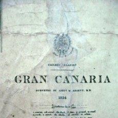 Antigüedades: CARTA NAUTICA NAVEGACION GRAN CANARIA AÑO 1834.. Lote 72459767