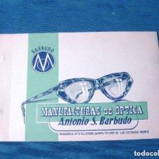 Antigüedades: CATÁLOGO DE GAFAS. ANTONIO S. BARBUDO. MADRID.. Lote 199898972