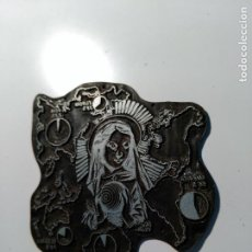 Antigüedades: PLANCHA DE IMPRESIÓN PARA ESTAMPA RELIGIOSA. MAPA DEL MUNDO A RELIEVE. METAL.. Lote 72784227