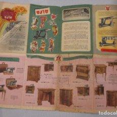 Antigüedades: MAQUINAS DE COSER ALFA EIBAR - DESPLEGABLE A DOS CARAS 48X40CM, EL DE LA FOTO. Lote 73045839