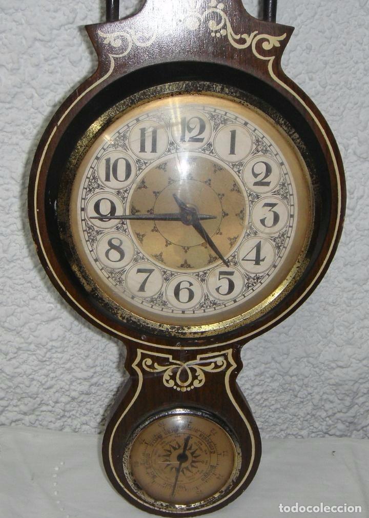 Antigüedades: Antiguo Reloj Barómetro Termómetro Italiano. - Foto 2 - 73124191