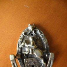 Antigüedades: LLAMADOR EN BRONCE CON JINETE A CABALLO. Lote 73582563